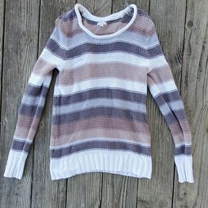 Sonoma striped chunky open knit sweater